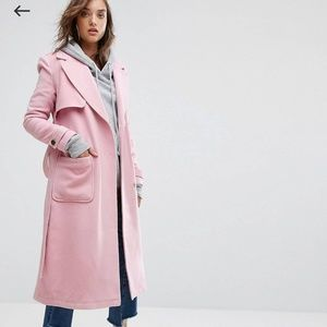 ⬇️20% Light pink longline belted warm trench coat